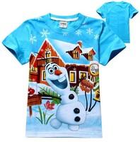 free shipping kids cartoon frozen Olaf t-shirt boys girls short sleeve cotton tees tops children's New style frozen t shirt