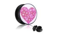 hot 88pcs/lot free shipping Gewinde Herz Rosa ear tunnel uv acrylic plug piercing jewelry