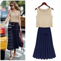 2014 Bohemian stitching folds chiffon dress  knee-length long dress tank dress  free shipping