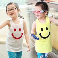 2014 summer Korean version of the new children's clothing female baby child models smile sleeveless T-shirt vest