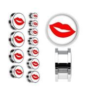 free ship 88pcs/lot mixed sizes white red lips 316l ear plug flesh tunnel piercing body jewelry