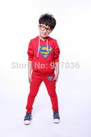 2014 New summer suits superman baby boy girl fleece sport children's clothes