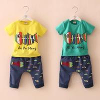 2014 summer Korean version of the new children's cartoon Boys casual short-sleeved t-shirt pants suit