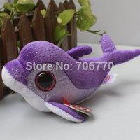 "IN HAND!   Rare Ty beanies Boo Cute Big eyes Animal ~Flip the purple Fish~~Plush doll 6"" 15cm Stuffed TOY BEST GIFT free shippin"