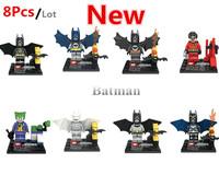 New Style Super heroes Batman Classic Toys Superman 8Pcs/lot Education Building Block Children's gift  Free shipping