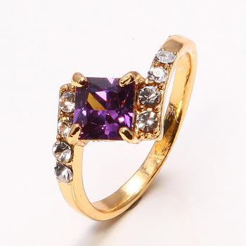 Игристое 18 К желтое золото заполненные аметист женщин кольцо P209 SZ7.5 свадебные золотые кольца для женщин