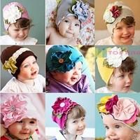 Spring Autumn Christmas flower lovely  Infant  hat children kid Baby hat Baby Photo Props Baby Kids Girl hat Gift(5pcs/lot)