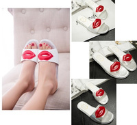 New Arrival 2014 Summer Exaggerated Big Red Lips Slides Mules Fashion Flat Heel Cozy Women's Slippers 35-39 Free Shipping
