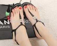 2014 Summer New Brand Designer Genuine Leather Women's Flat Sandals,Fashion Beach Flip Flops Slippers