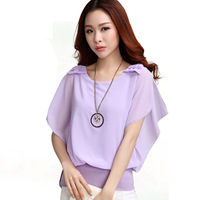 Free Shipping Cute Woman Blouse New 2014 Summer Korean Style Fashion Casual Ruffle Short Sleeve Chiffon Shirt With Bow D99169
