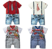 Retail High quality baby sling tie summer suit collar style Romper, many styles .boys girls rompers