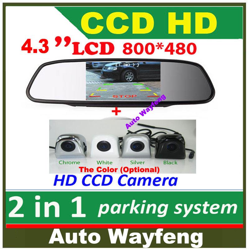 """2 in 1 HD CCD backup reversing Camera +4.3"""" HD 800*480 Car Mirror Monitor , rear view mirror monitor car parking camera(China (Mainland))"""