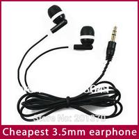 Free Shipping Cheap in-ear earphone For iPod/iPad ,in-ear Headphone 3.5mm For MP3 MP4 MP5 (Black) 100PCS/LOT