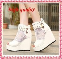 New 2014 fashion women sandal high heels sandals summer boots rivet women's shoes platform sandals wedges shoes women Z669