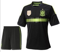 Wholesale! Self manufacturers black jersey + shorts Spain 14-15, 2014 World Cup Spain Away Jersey Set