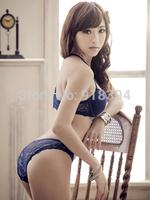 2014 New Arrival Classic Blue Women Bra Set Seamless Front Closure Y-line Straps Sexy Lace lingerie Push Up Bra & Brief Sets