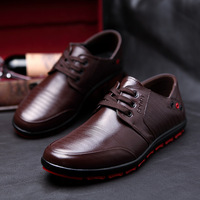 NEW Breathable Men leather shoes male casual shoes Genuine leather Flats Oxfords Shoes Low Men's Lace Up Shoes Free Shipping