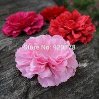 "Free shipping cheap flower, 4.3"" silk peony flower head 12colors fabric peony flower flat back garment accessory 48pcs/lot"