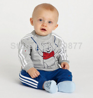 High quality Boys Suit Cotton Baby Sports Sets Bear Cartoon Clothing Sets Children Long Sleeve T-shirt+Pant Outfits Autumn