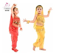 New 2014 Kids Belly Dance Costume Child Indian Dancing Girl's Performance Clothing Children Stage Tutu Latest Tulle Cloth D