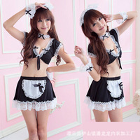 Hot Sexy Maid Uniforms temptation,Womens Open Bust Babydoll Lingerie 6 pcs/Set  #SM14009