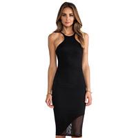 Women's Black elastic tank dress knee length slim asymmetrical gauze patchwork sweep dress Plus size XS-XXL WI305