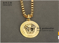 2014 new high quality gold plated Medusa head male and female couple necklace