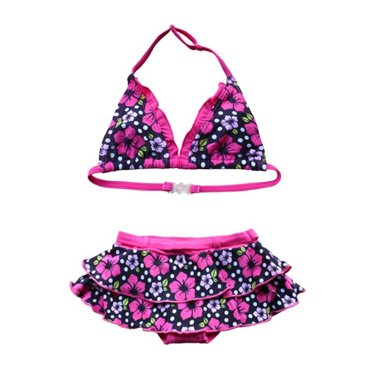 Buy send swimming cap 2015 Hot Sale Small Broken Flower Girls Fission Swim Clothes In Bikini Swimsuit Children(China (Mainland))