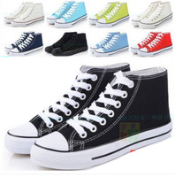 Big size 35-45 new 2014 fashion unisex brand 10 colors high canvas shoes lace up casual breathable sneakers for men women