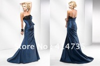 P528 Fashion Strapless Taffeta Prom Dresses Rhinestone Sequin Bow A-line Ankle Length Custom Made