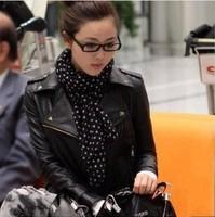 2014 Fashion Apricot /Beige Ladies&Women Lapel Rivets PU Faux Leather Jackets Zipper Biker Motorcycle Coats Outerwear[240355]