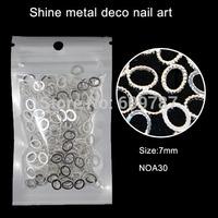 200pcs/lot silver Oval metal rims nail decoration,fashional outlooking nail art decorations