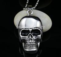 2014Classic Men's Stainless Steel Skeleton Skull Pendant Necklace Chain