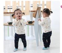 Retail 2014 new spring boys girls long sleeve t shirt + pants 2pcs set baby Horses polo print top children casual clothing 1set