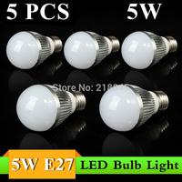 Cheapest 5 pcs 5W E27 85-260V LED White Light Bulb Lamp Motion Led Bulb Free Shipping