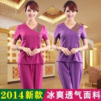 Summer fashion women beauty salon spa short sleeve uniform pant suits