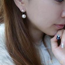 Hot New Fashion Girl s Sweet Lovely Imitation Double Pearl Rhinestones Ear stud earrings 02QN