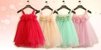 Wholesale 2014 New Baby Girls TUTU Dress Lace Flower kids Slip Summer Princess Party Dress 5pieces/lot Free Shipping