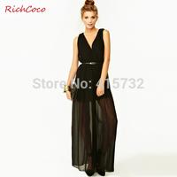 Free Shipping 2014 New Fashion Sexy V-neck High Waist Sleeveless Jumpsuit And Romper Black European Style Chiffon Wide Leg Pants