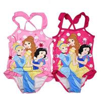 Promotion 3pcs/lot Princess Girls Swimwear 1-4 Years Children Famale Swimsuit/Fashion One-Piece Princess Beachwear 2014