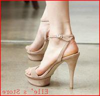New 2014 Summer Women High Heels Sandals  Buckle Belt Leopard Print Nude Pumps Women Platform Sandals