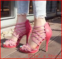 New 2014 Cross Straps Sexy Genuine Leather  Thin Heels Gladiator Cutout Women Rome High heels Women Sandals