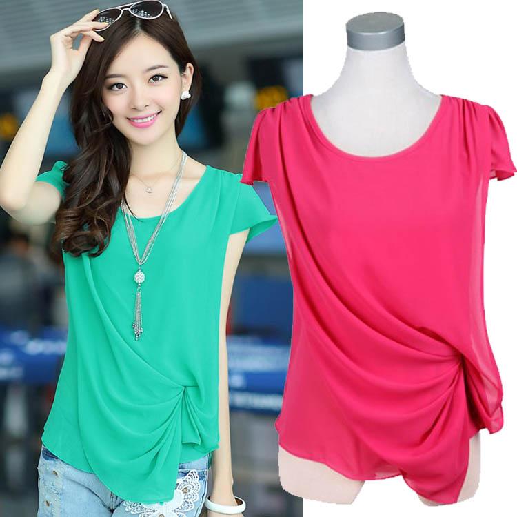 2014 Summer Hot Shirts Female Short-sleeved Blouses M-XXXL 5 Sizes 4 Colors Womens Summer Chiffon Shirt Silk Tops Loose Blouse(China (Mainland))