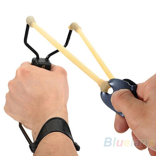 Folding Wrist Sling Shot Slingshots High Velocity Hunt Brace Bow Outdoor Hunting 0AO9