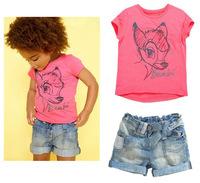 Wholesale 2014 New Boys Girls Brand Summer Clothing Set  Cartoon T shirt+Jeans Shorts  children clothing set baby outerwear