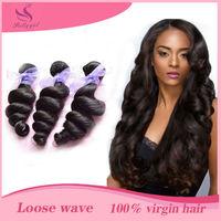 Unprocessed 6A Peruvian Loose Wave Virgin Hair Weaves Rosa Hair Products 3/4Pcs Lot Natural Black Human Hair Extension Can Dye