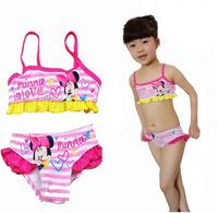Promotion 3pcs/lot Summer Cartoon Mouse Girls Princess Flower Edge Swimwear 2-5 Years Children Fashion Two Piece Beachwear 2014