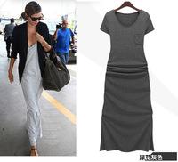 New Short Sleeve Slim Cotton Women Long Dresses Western Fashion Summer O-neck Short Sleeve Lady Dresses