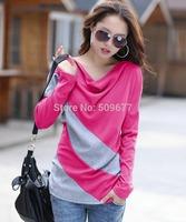feeling dress fashion autumn New 2014 T-Shirt S-XXXL Plus Size Women Clothing striped girls Tee long sleeve T Shirt