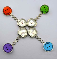50pcs/lot round face with heart dial Nurse Watch Clip On Fob Brooch Hanging Pocket Watch  + many colors free DHL to Brazil